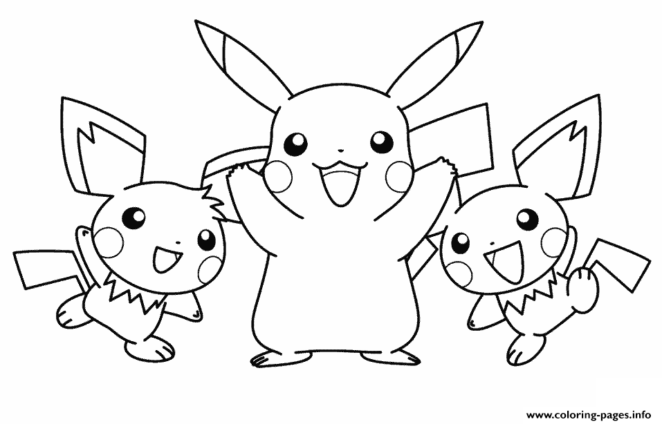 pikachu with his pichu friends pokemon coloring pages