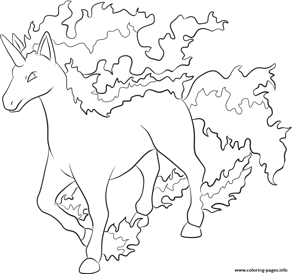 Coloring pages for pokemon - 078 Rapidash Pokemon Colouring Print 078 Rapidash Pokemon Coloring Pages