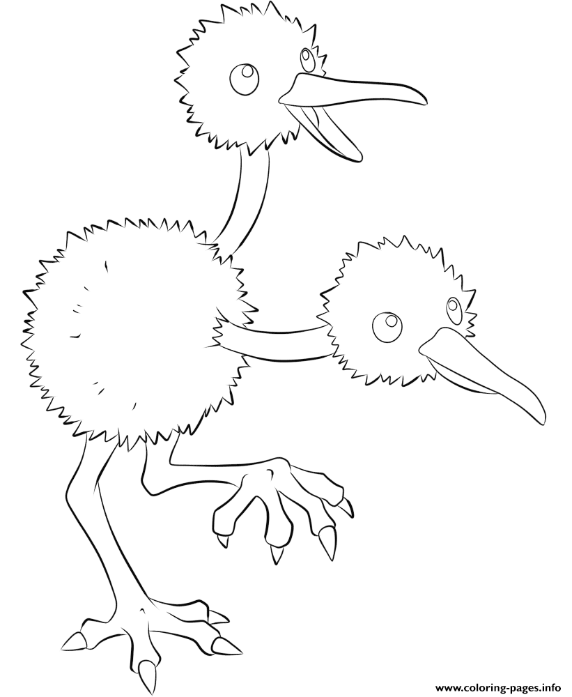 084 doduo pokemon coloring pages