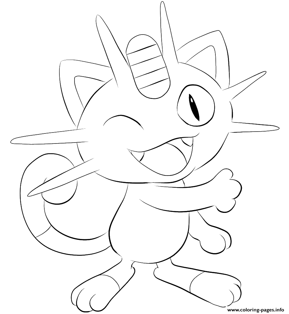 052 Meowth Pokemon coloring pages