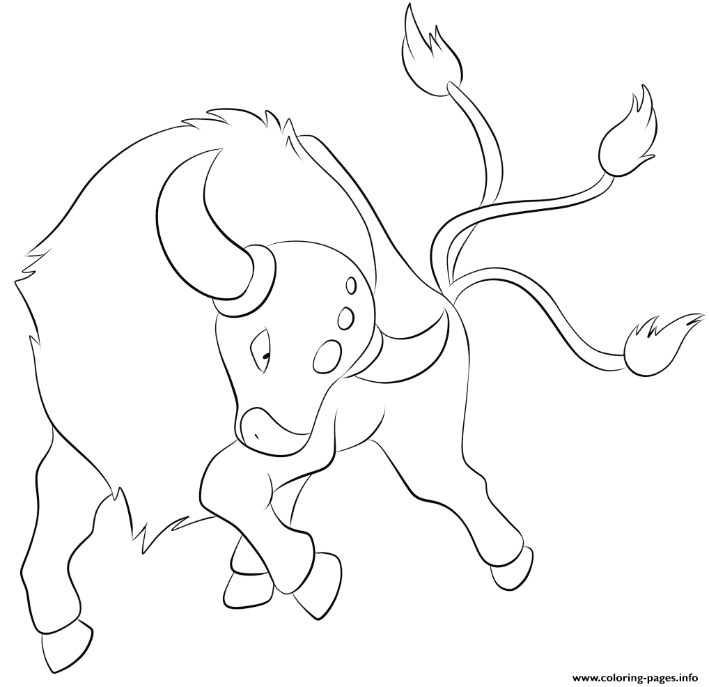 128 Tauros Pokemon Coloring Pages Printable