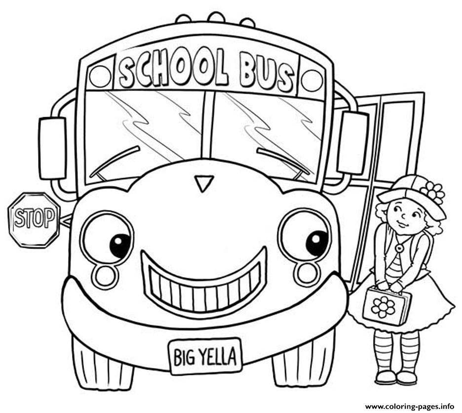little girl and school bus coloring pages - School Bus Coloring Pages