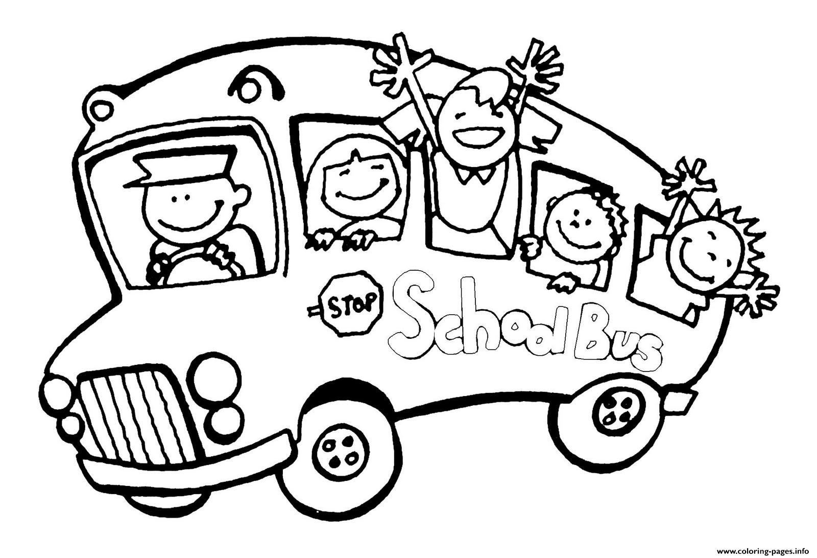School Bus Happy Students Coloring Pages Printable