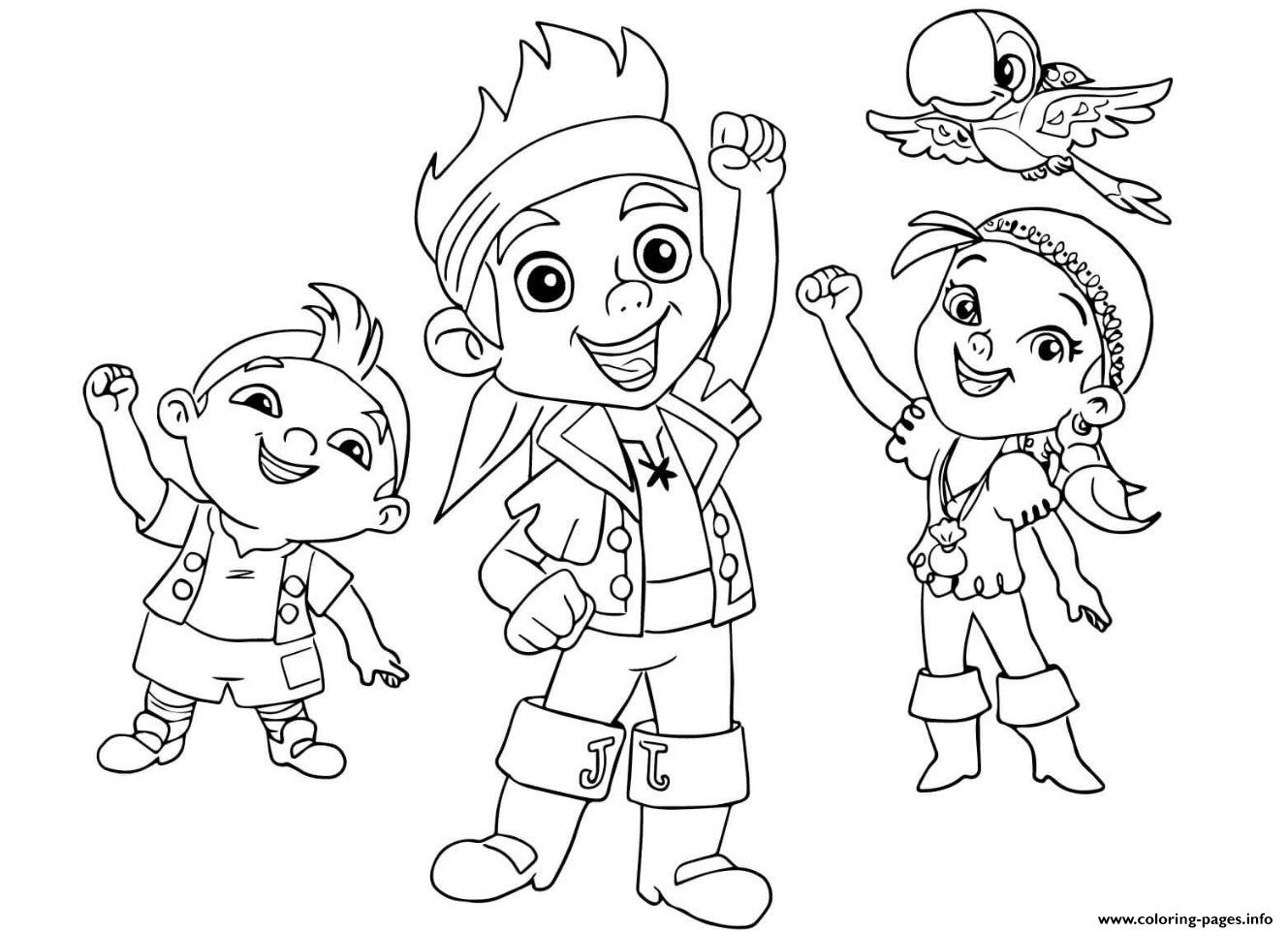 jake and the neverland pirates team halloween coloring pages printable