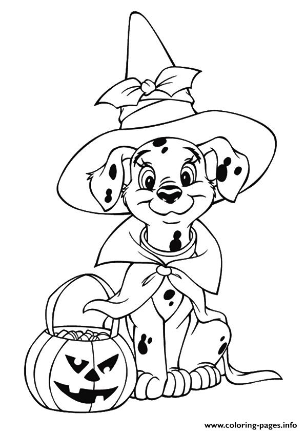 Coloring Pages Halloween Princess : The dalmatian celebrating halloween disney
