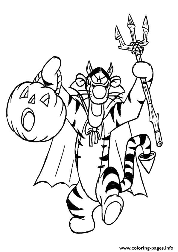 Winnie the pooh friend tiger disney halloween coloring for Winnie the pooh and friends coloring pages