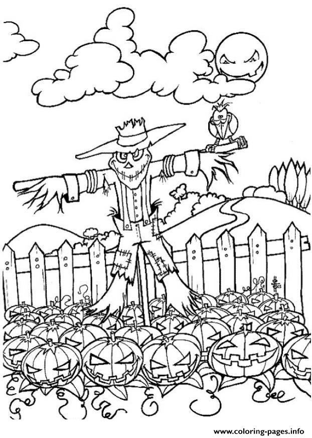 Scary Scarecrow And Pumpkin Halloween Coloring Pages Printable