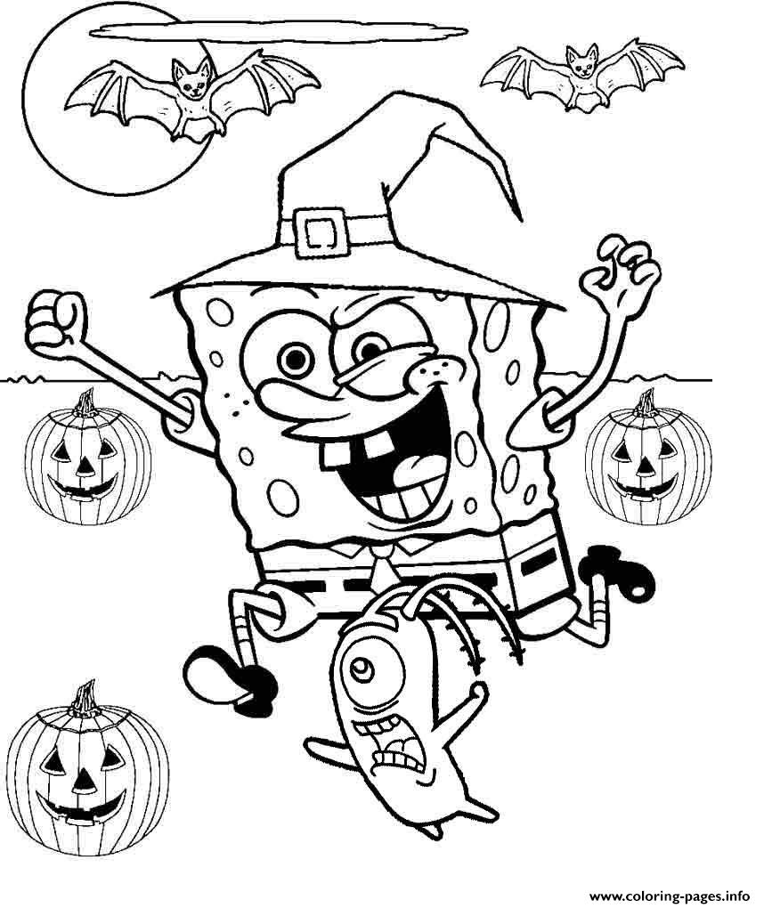 Spongebob halloween coloring pages printable for Halloween print out coloring pages