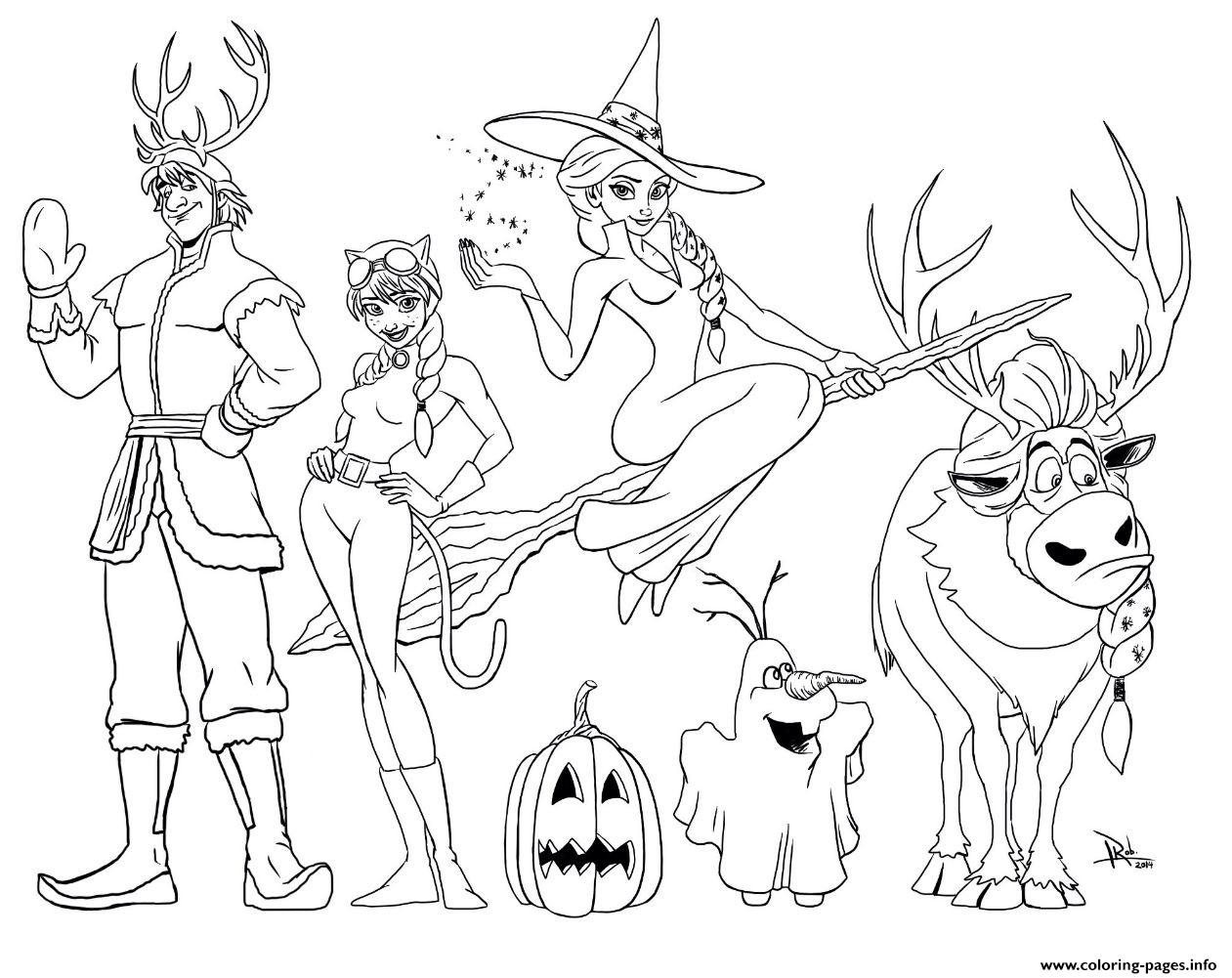 Frozen Halloween Colouring Print Coloring Pages