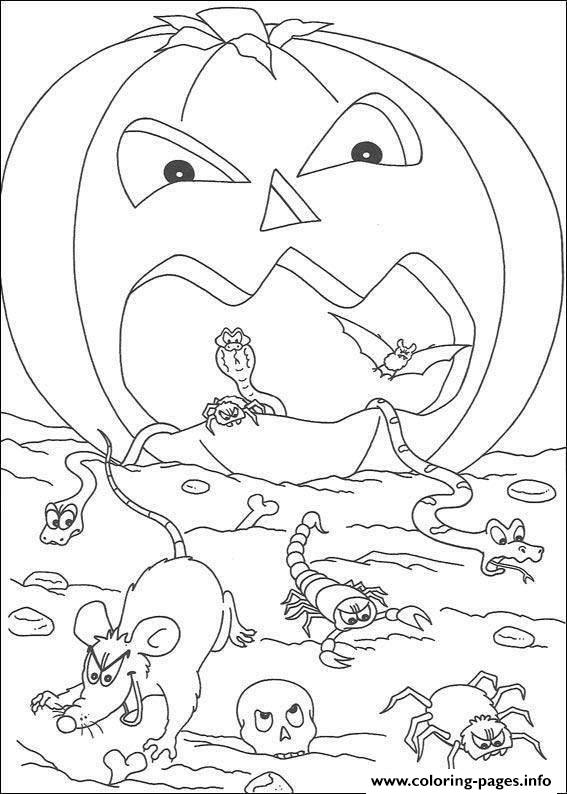 Scary Pumpkin Halloween Coloring Pages Printable Scary Pumpkin Page To Color