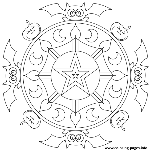 halloween mandala pumpkins bat Coloring pages Printable