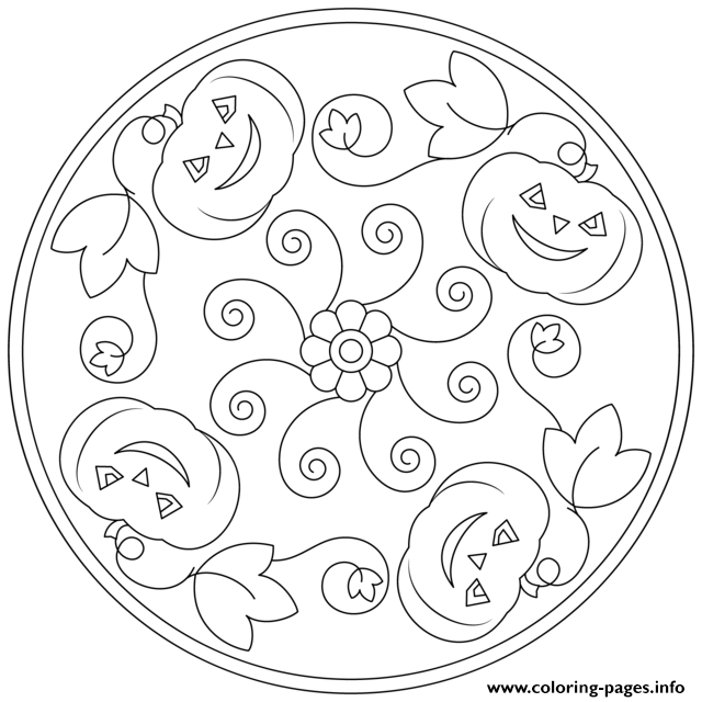 Halloween Mandala Pumpkins Flowers Coloring Pages Printable