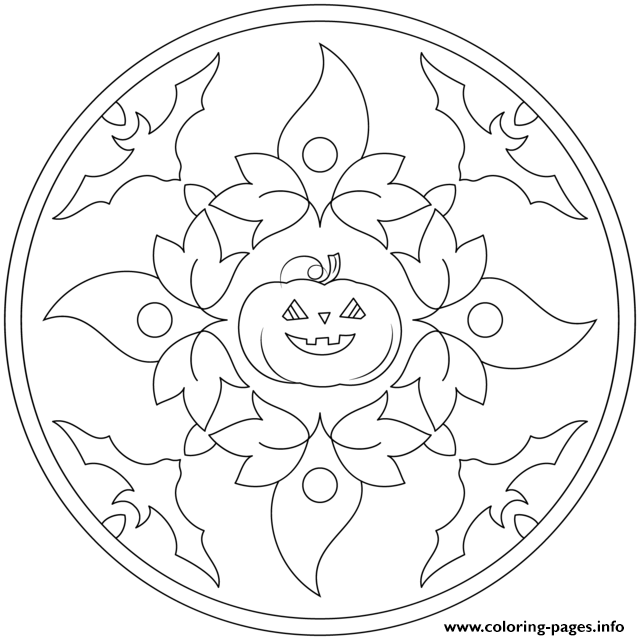 Halloween Mandala With Bats And Pumpkin coloring pages