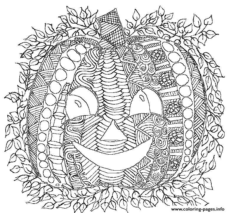 Pumpkin smile adult halloween coloring pages printable for Halloween coloring pages for adults printables