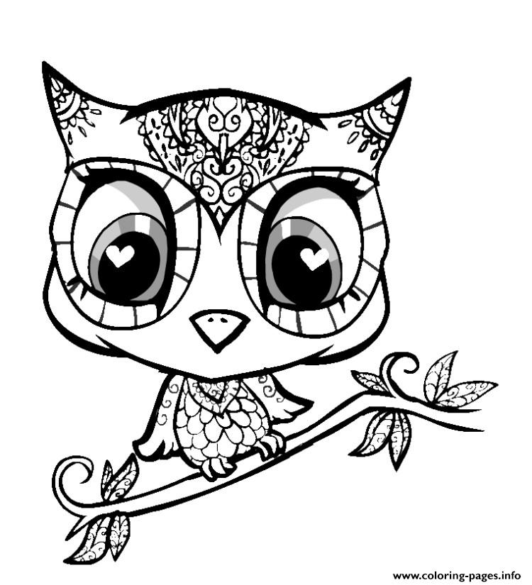 Animal cute 2017 coloring pages printable for Cute owl coloring pages to print