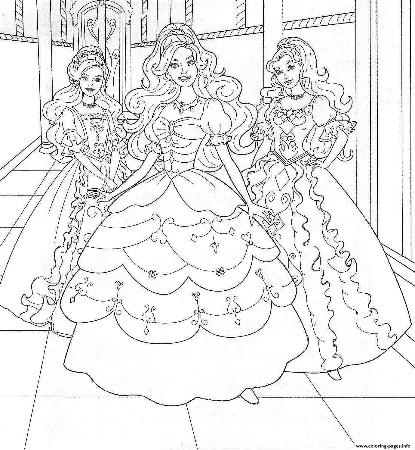 girls s barbie three princess1e895 coloring pages