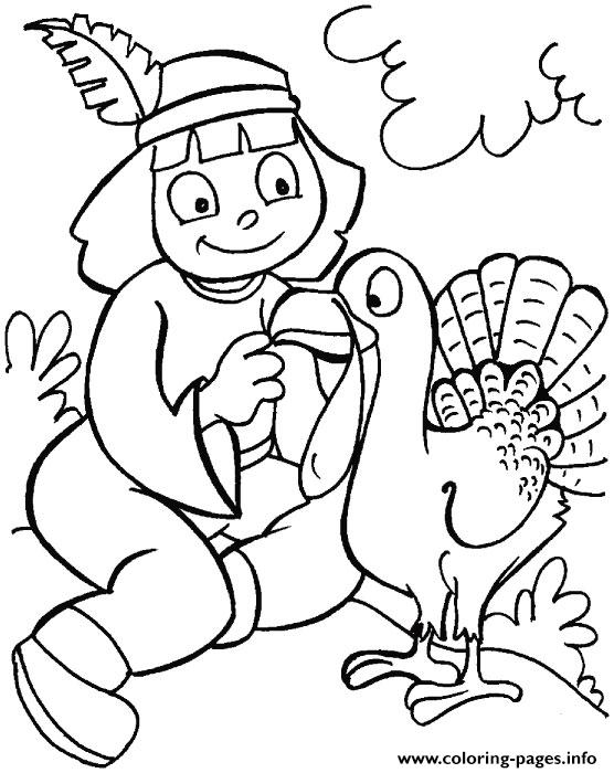 Indian Girl And Turkey Thanksgiving S For Girls C182 coloring pages