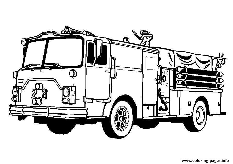 Fire Truck Car Firefighter Coloring Pages