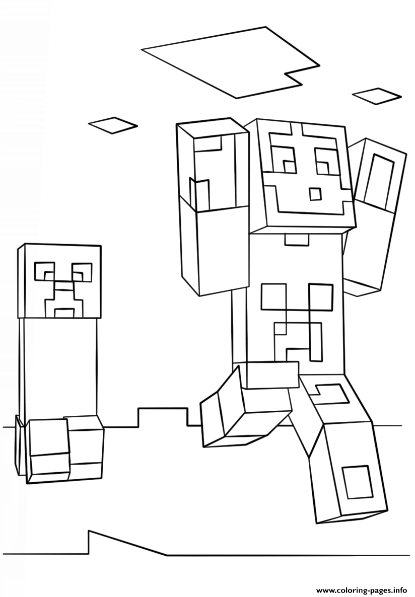 picture about Minecraft Steve Printable titled Minecraft Steve And Creeper Coloring Webpages Printable