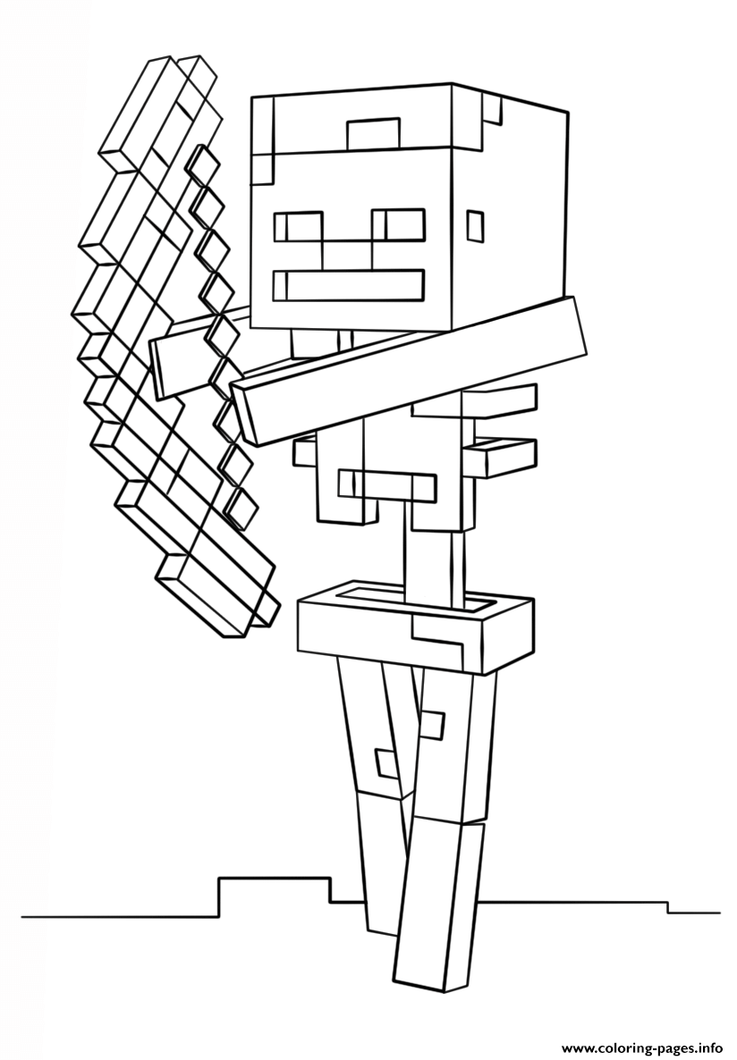 Minecraft Skeleton With Bow coloring pages