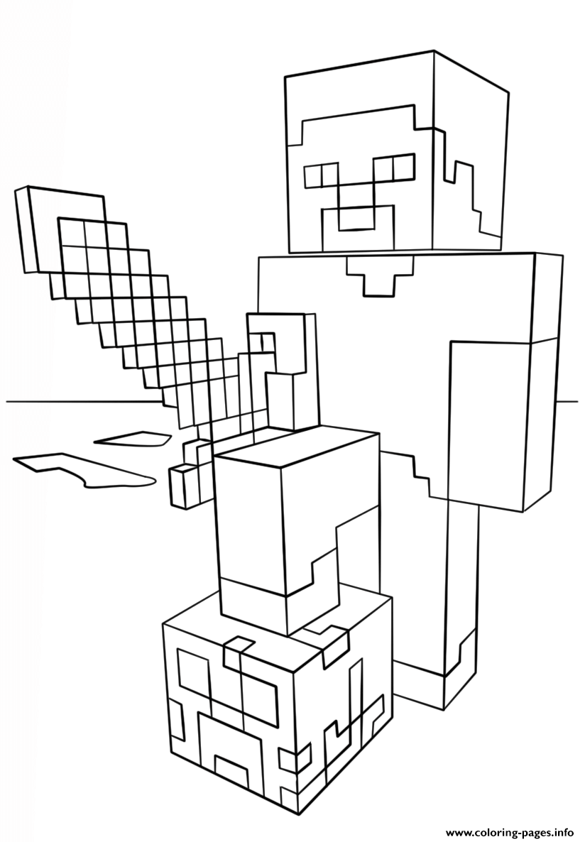 Minecraft Steve With Diamond Sword Coloring Pages Printable