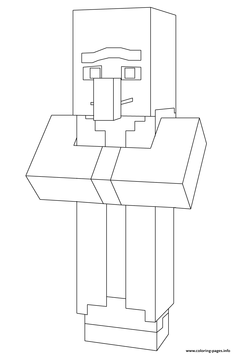 minecraft villager coloring pages printable