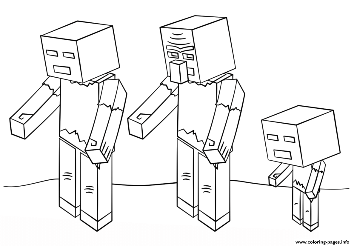minecraft zombies coloring pages