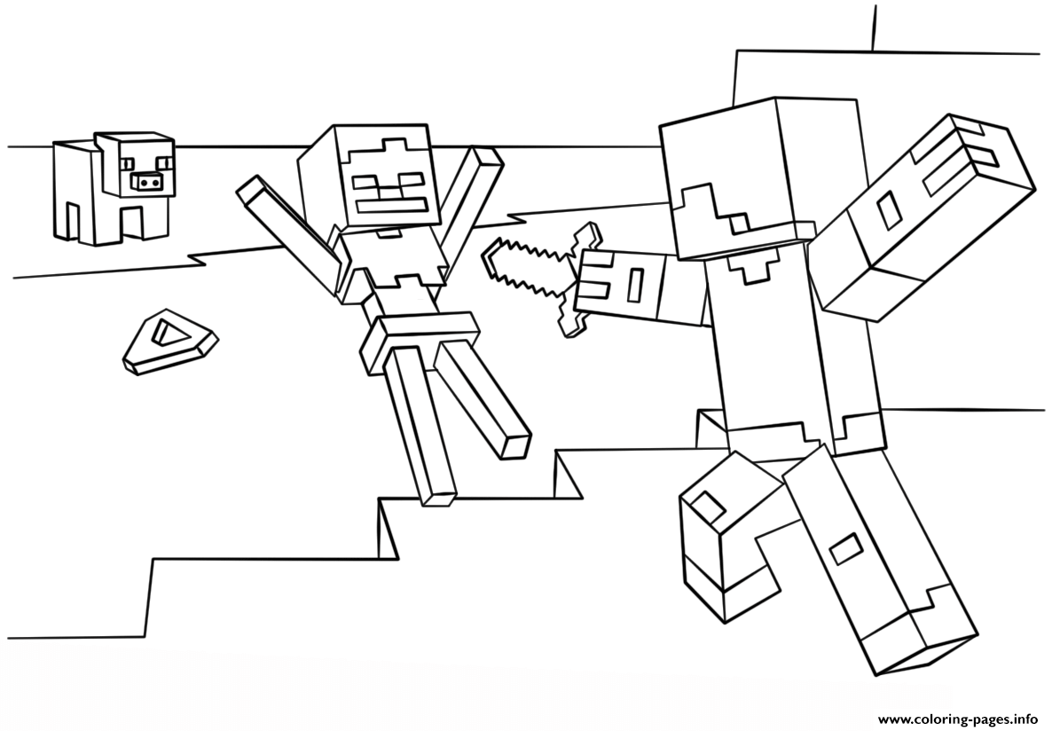 Minecraft Steve Vs Skeleton Coloring