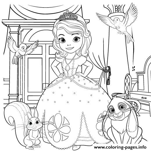 Princess Sofia The First With Animals Coloring Pages Printable