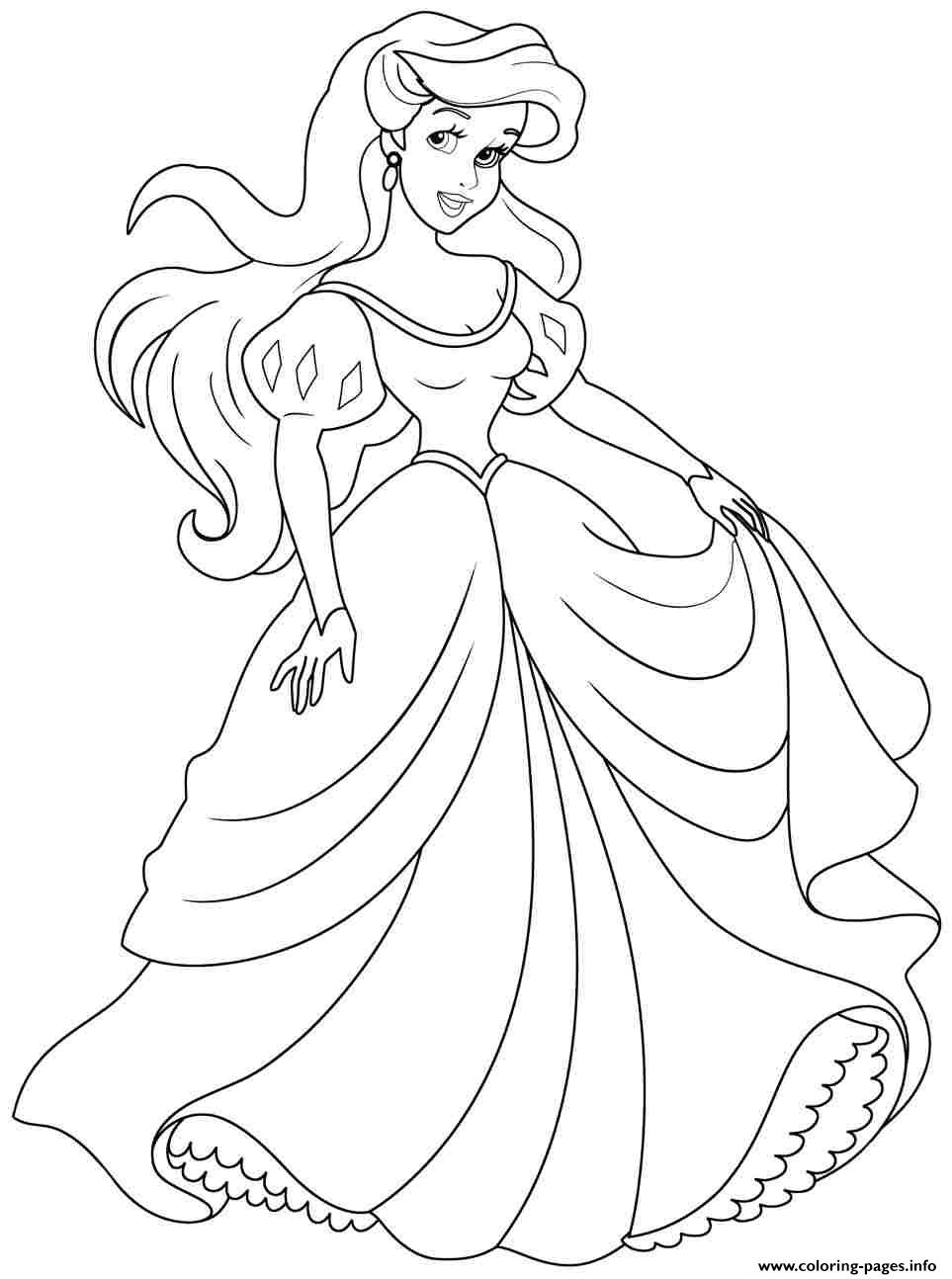 princess ariel human coloring pages printable