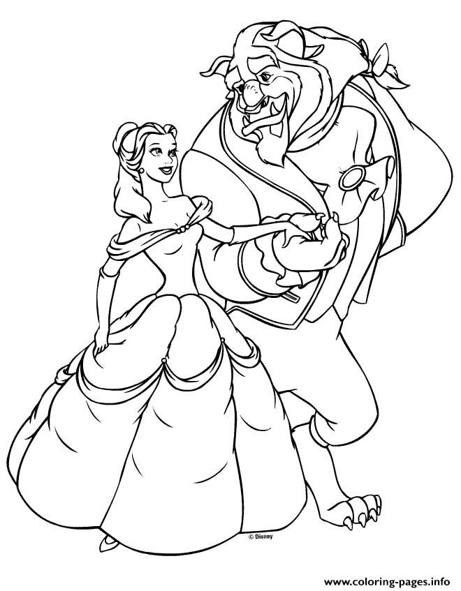 Princess Beauty Beast Belle Coloring Pages Printable