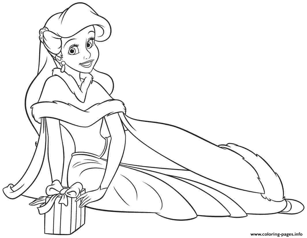 Princess Ariel Human Christmas Coloring Pages Printable