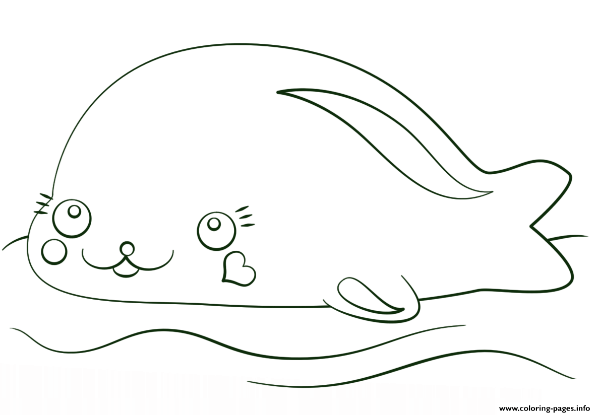 Kawaii Seal coloring pages