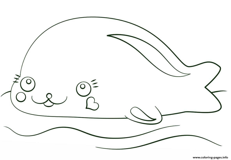 Kawaii Seal Coloring Pages Printable