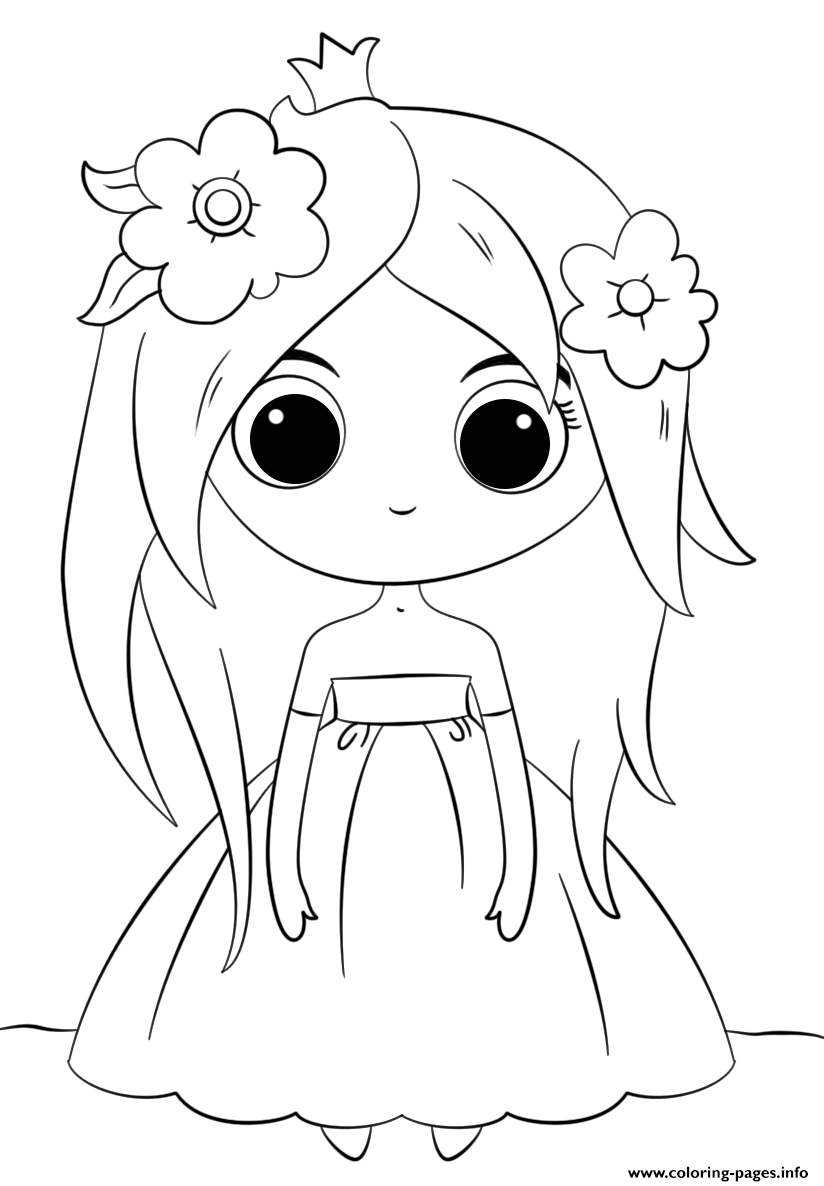 Cute Princess Kawaii Coloring Pages Printable