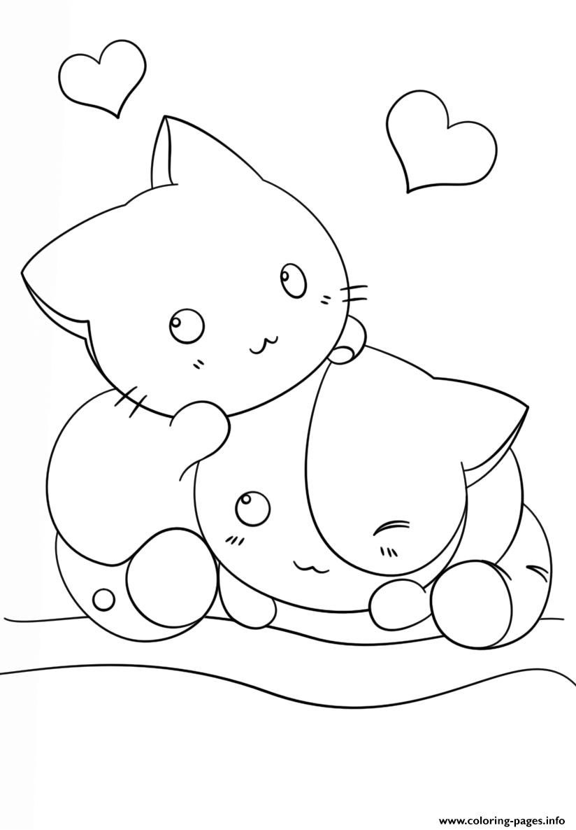 Kawaii Kittens Coloring Pages Printable