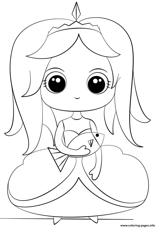 Princess With Fish Kawaii Coloring Pages Printable