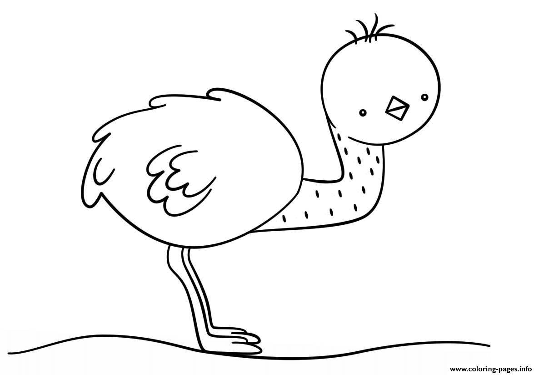 Kawaii Emu Coloring Pages Printable