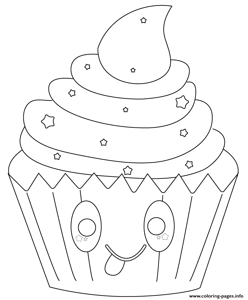 kawaii cupcake with stars Coloring pages Printable
