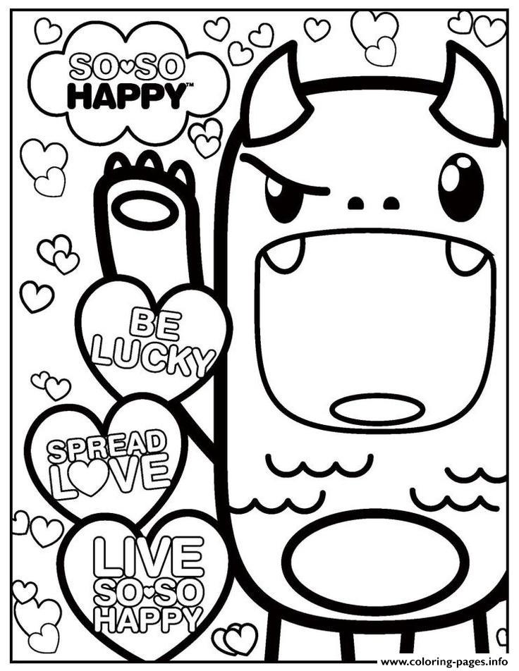 So So Happy Kawaii Kawaii Coloring Pages Printable