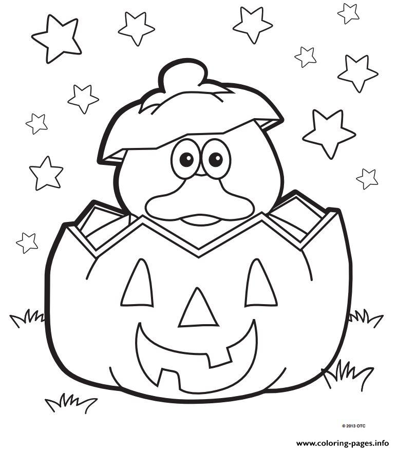 Halloween Duck Pumpkin Coloring Pages Printable