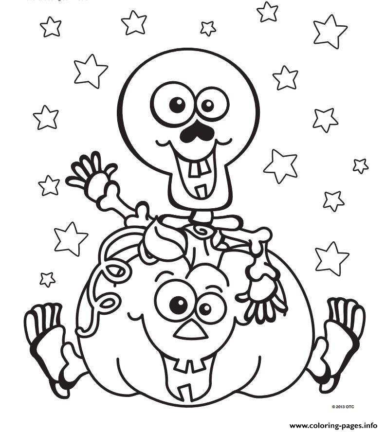 Halloween skeleton pumpkin coloring pages printable for Coloring pages for halloween free printable