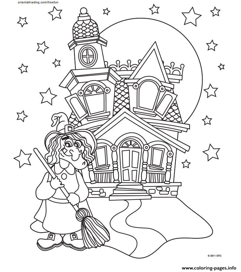 halloween castle coloring pages printable