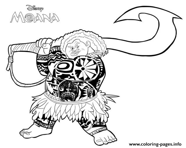 Free Colouring Pages Moana : Demi god maui from moana disney coloring pages printable