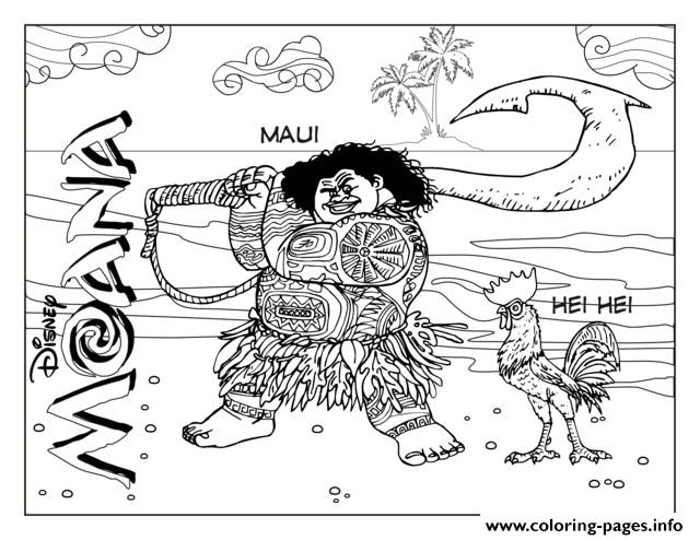 Maui And Hei Hei  coloring pages