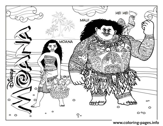moana and maui disney coloring pages printable