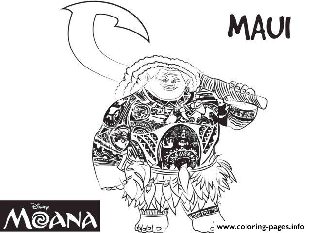 Maui Strong Man From Moana Disney Coloring Pages Printable
