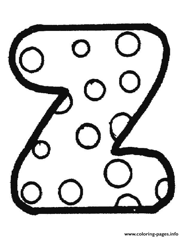 Awesome Bubble Letter Z Coloring Pages