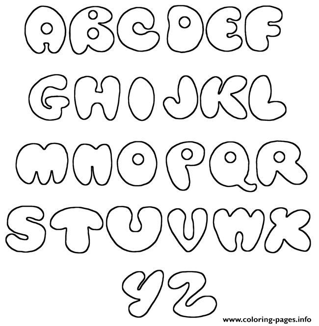 Bubble Letters Az Simple Coloring Pages