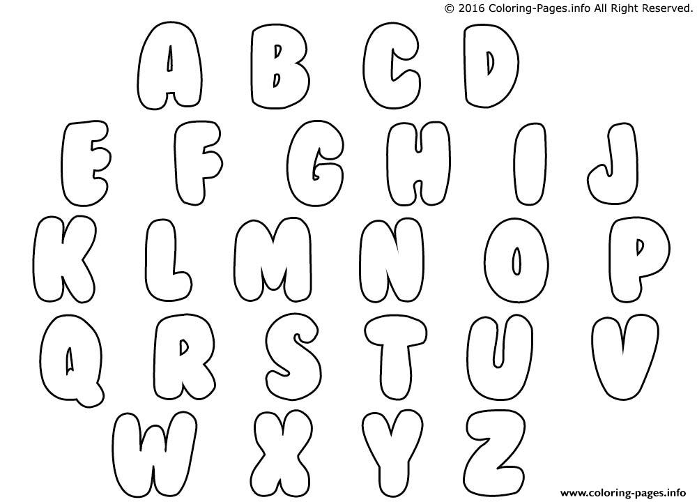 Bubble Letters Coloring Pages Print Download